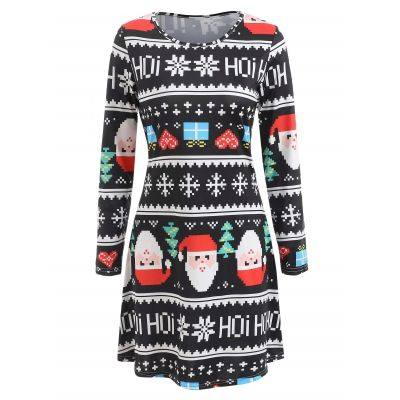 Christmas Print Tunic Dress (MULTI)