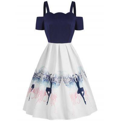 Dancing Girl Print A Line Dress (WHITE)
