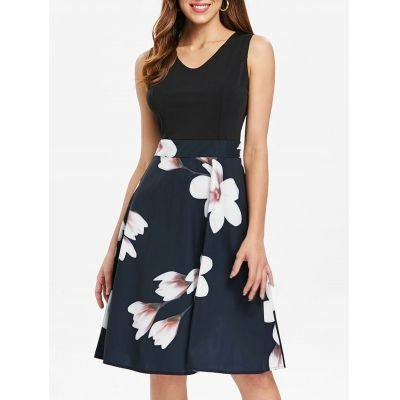 Floral Panel A Line Dress (ROYAL BLUE)