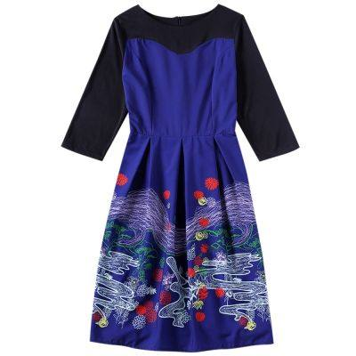 Boat Neck 3/4 Sleeve Color Blocking Print A-line Women Vintage Dress (BLUE JAY)