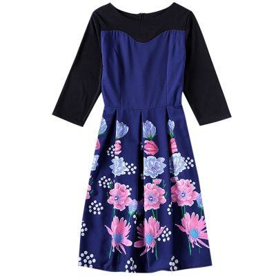 Boat Neck 3/4 Sleeve Floral Print A-line Women Midi Dress (DARK SLATE BLUE)