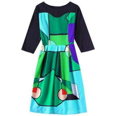 Boat Neck 3/4 Sleeve Color Blocking A-line Women Vintage Dress  (YELLOW GREEN)