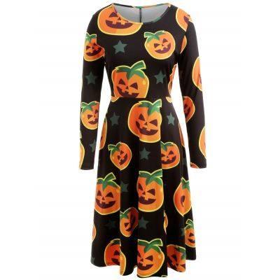 Halloween Pumpkin Print Midi Swing Dress (BLACK)