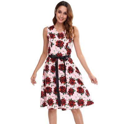 V Neck Sleeveless Floral Print Waist Strap A-line Women Vintage Dress (PIG PINK)