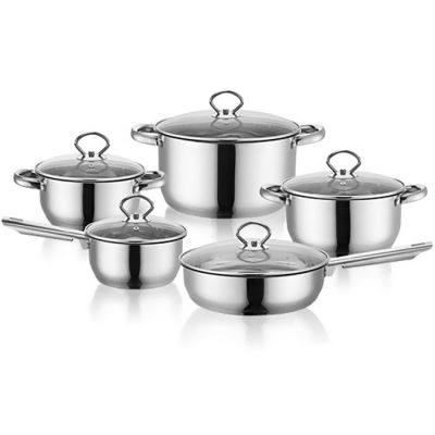 CREATIVE AND PERSONALITY STAINLESS STEEL POT SET  (SILVER)