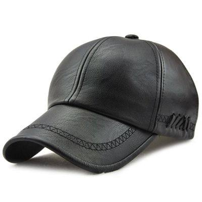 Autumn / Winter PU Leather Outdoors Leisure Baseball Cap for Men (BLACK)