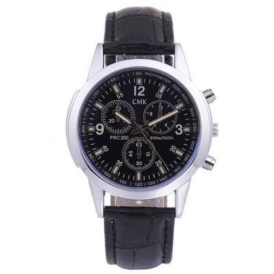 Blue-blue Glass Belt Men's Three-eye Digital Scale Quartz Watch (BLACK)