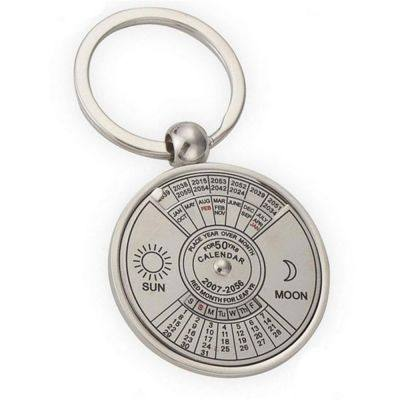 Creative Personality High Quality Metal Chinese English Compass Calendar Keychain (SILVER)