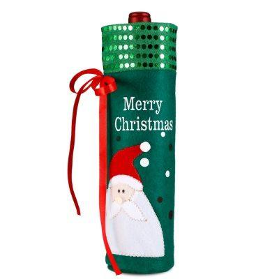 Christmas Embroidery Wine Bottle Bag Cover for Xmas Party Holiday Decoration (MULTI)