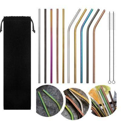 10pcs Stainless Steel Drinking Straws Multicolor Reusable (MULTI)