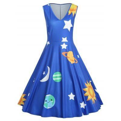 Plus Size Planet Print Vintage Dress (OCEAN BLUE)