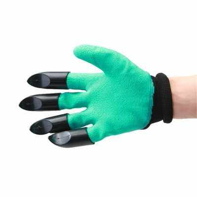 Garden Gloves With Fingertips Claws Quick and Easy To Dig and Plant Sheath (BLACK)