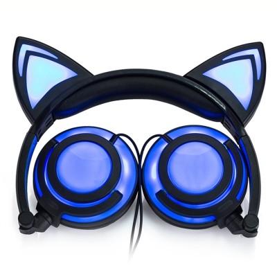 Kids Girls Headphones Cat Ear LED Foldable Stereo Music Gaming Flashing Headsets (MULTI-B)
