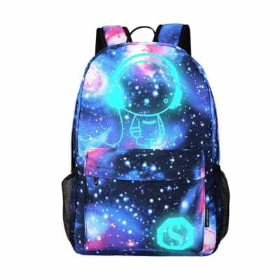Fashionable Luminous Backpack Shiny Starry Backpack Travelling Hiking Bag (Blue)