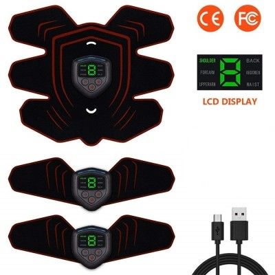 HANDISE ABS Stimulator Muscle Toner Abdominal Toning Belt Muscle EMS Trainer ABS (BLACK)