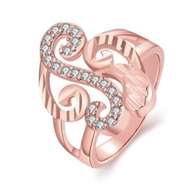 R358-B NICKLE FREE ANTIALLERGIC NEW FASHION JEWELRY ROSE GOLD PLATED ZIRCON RING (ROSE GOLD)