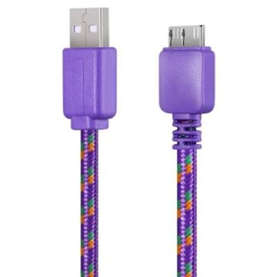 3M BRAIDED FABRIC FLAT COLORFUL MICRO DATA SYNCHRONIZATION CHARGER CABLE CORD FOR SAMSUNG GALAXY S5 NOTE 3 (PURPLE)