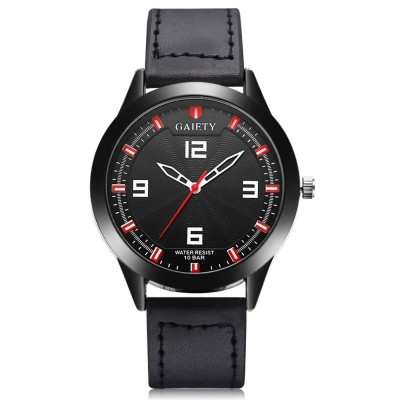 GAIETY G544 Diameter 42mm Men's PU Leather Wrist Watch (BLACK)