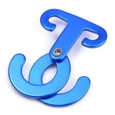 T SHAPE ALUMINUM ALLOY SELF-LOCKING CARABINER HOOK FOR OUTDOOR SAFETY CAMPING HIKING (SAPPHIRE BLUE)