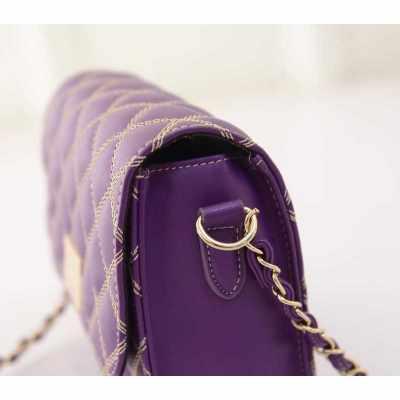 New Fashion Women Cross Body Bag Quilted Design Chain Shoulder Strap Magnetic Snap Messenger Shoulder Bag (Purple)
