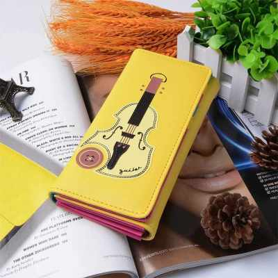 New Fashion Women Wallet PU Leather Flap Top Guitar Print Press Stud Fastening Casual Coin Purse (Yellow)