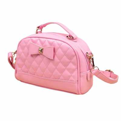 Cute PU Leather Bowknot Candy Color Small Crossbody Bag for Women (Pink)