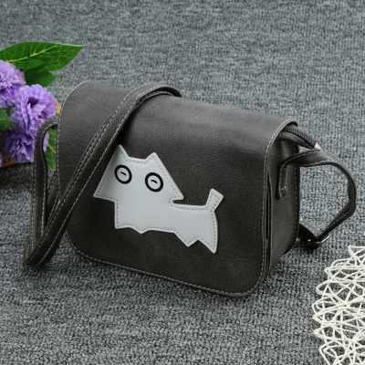 New Fashion Women Crossbody Bags Soft PU Dog Pattern Flap Casual Small Mini Shoulder Messenger Bag Handbag (Gray)