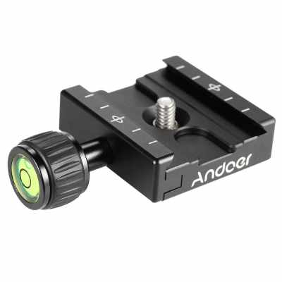 Andoer QR-50 Quick Release Plate Clamp Adapter with Built-in Bubble Level for Arca Swiss RRS Wimberley Tripod Ball Head (2)