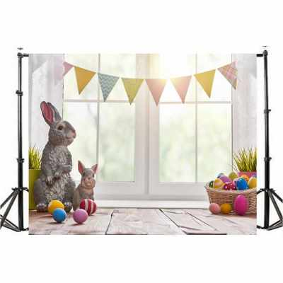 Easter Theme Photography Background Eggs Rabbit Flowers Grassland Baby Child Photo Backdrops for Photo Studio (M4)