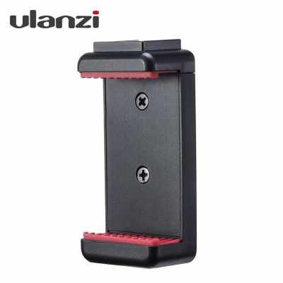 Ulanzi ST-07 Adjustable Phone Holder Vlog Phone Clip with 1/4 Inch Screw Holes Extending Cold Shoe for 5.6-8.3cm Width Smartphone for Tripod LED Light Microphone (Standard)