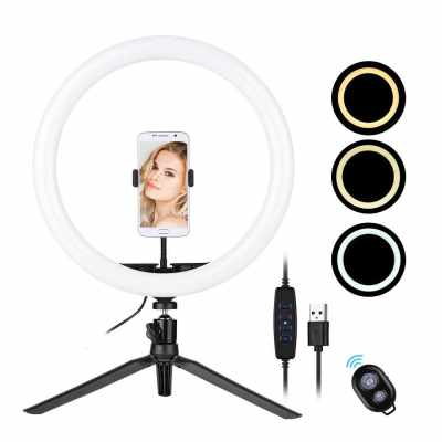 30cm/12inch LED Ring Light  5600-8200K Diammable 3 Colors with Tripod Phone Stand Holder Remote Shutter for Video Live Streaming (Standard)