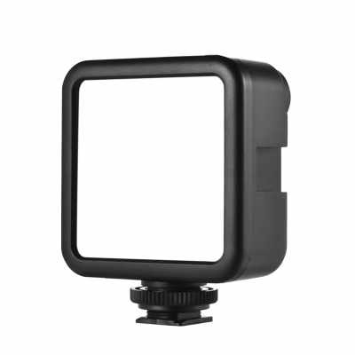 Andoer W49S Mini LED Video Light 5600K Dimmable 5W Built-In Rechargeable Battery 3 Cold Shoe Mounts (Standard)