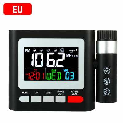 Projection Clock Digital Alarm Clock with Snooze Calendar Date Display and Thermometer Weather Station LED Projection Digital Clock FM Radio Touch Control 100~240V (White)