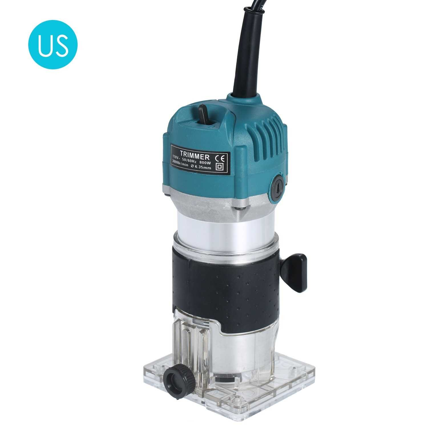 [ Oxford St ] 110V 800W Trim Router 30000r/min with Transparent Base Edge Guide Wood Laminate Electric Trimmer Compact Palm Router Corded for Woodworking Trimming Slotting Notching / Aluminum Blue (Us Plug)