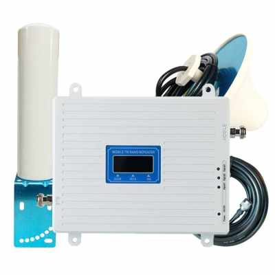 Tri Band Amplifier 900 1800 2100MHz GSM DCS 3G Universal Signal Booster Intelligent Repeater Kit with Outdoor Barrel Antenna (Eu)
