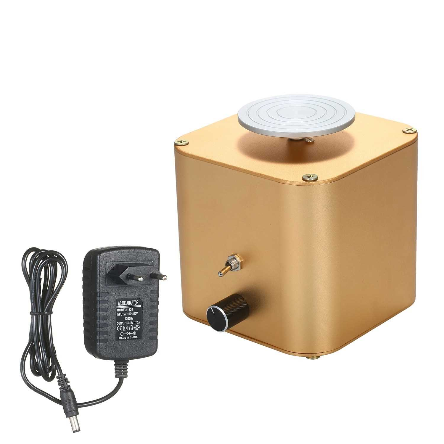 [ MEDUSA ] Electric Pottery Wheel Ceramic Machine with 6cm Turntable Clay Sculpting Wheel with Variable Speed and Clockwise/Anticlockwise Rotation for Adults Kids Beginners (Gold)