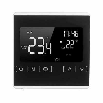 Smart Touchscreen Thermostat for Home Programmable Electric Water Heating System Thermoregulator AC 85-250V Temperature Controller Heat Only Thermostat for Hot Water Recirculating System (White)