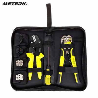 Meterk Professional 4 In 1 Wire Crimpers Engineering Ratcheting Terminal Crimping Pliers Bootlace Ferrule Crimper Tool Cord End Terminals With Wire Stripper (black red)