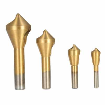 4pcs/set Professional Woodworking Countersink Deburring Drill Bit Good Quality High Speed Steel Hole Saw Countersink Bits Round Shank Chamfer Wood Metal Drilling