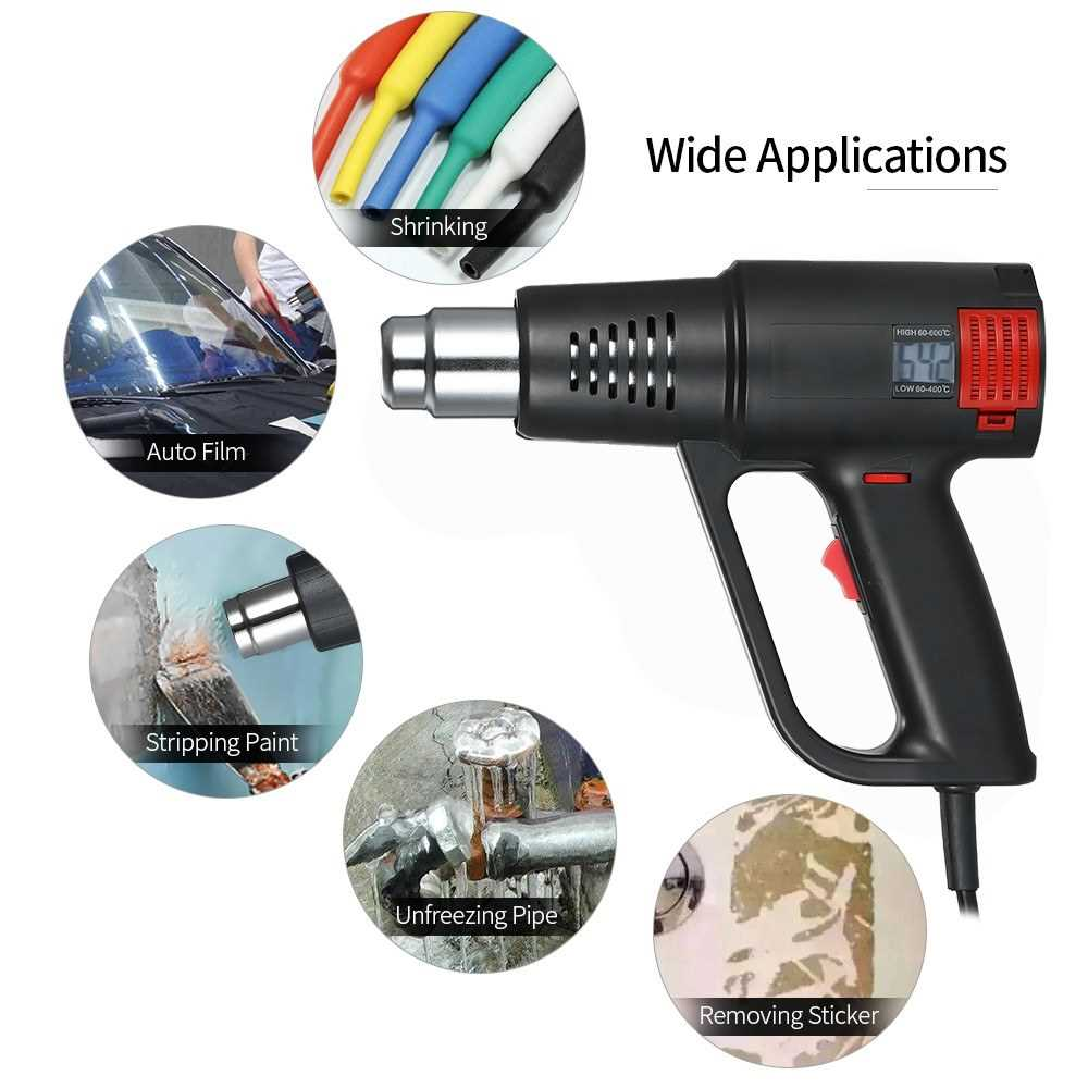 [ Belgis ] 2000W Industrial Fast Heating Hot Air Gun LCD Digital Temperature-controlled High Quality Handheld Heat Blower Electric Adjustable Temperature Heat Gun Tool (Black)