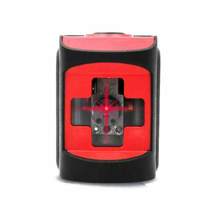 Mini Portable Horizontal Vertical Crossing Two Lines Laser Level Meter Waterproof Drop-proof Dust-proof Automatic Line Calibration Instrument (Red)