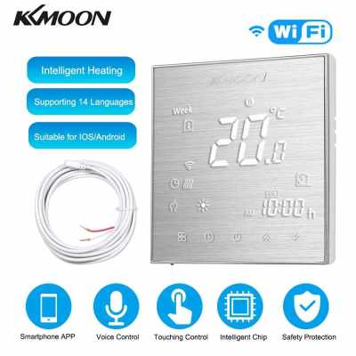 KKmoon Digital Underfloor Heating Thermostat for Electric Heating System Floor & Air Sensor with WiFi Connection & Voice Control Energy Saving AC 95-240V 16A Touchscreen LCD Display Room Temperature Controller Works with Amazon Alexa/Google Home/IFTTT (Br