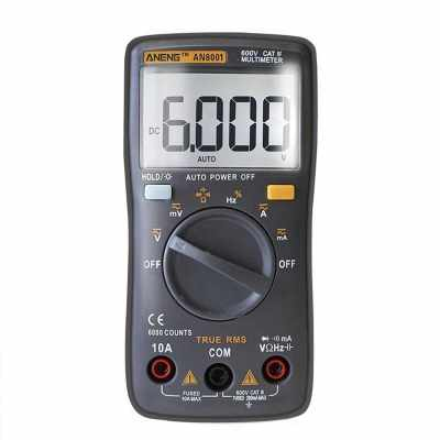ANENG 6000 Counts True RMS Multifunctional Digital Multimeter Voltmeter Ammeter Handheld Mini Universal Meter High Accuracy Measure AC/DC Voltage AC/DC Current Resistance Capacitance Frequency Duty Cycle Diode Tester (Black)