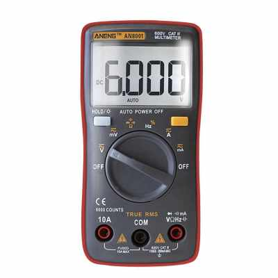 ANENG 6000 Counts True RMS Multifunctional Digital Multimeter Voltmeter Ammeter Handheld Mini Universal Meter High Accuracy Measure AC/DC Voltage AC/DC Current Resistance Capacitance Frequency Duty Cycle Diode Tester (Red)