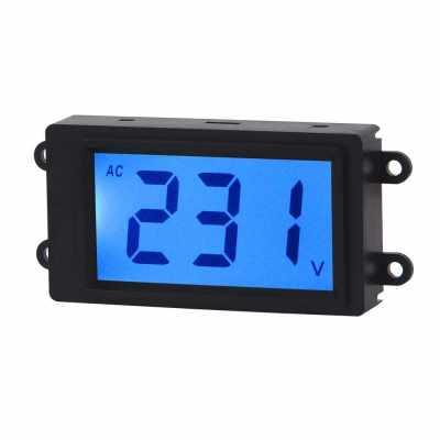 AC Digital Volt Meter 2 Wire 80-380V Blue LCD Display Voltage Monitor Voltmeter Industrial Electrical Voltage Tester Gauge Panel (Blue)