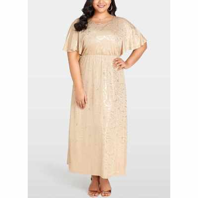 Women Plus Size Dress Shining Floral Gold Stamping  Evening Party Maxi Dress (Khaki)