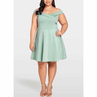 Women Plus Size Dress Slash Neck V Back High Waist Party Dress (Green)