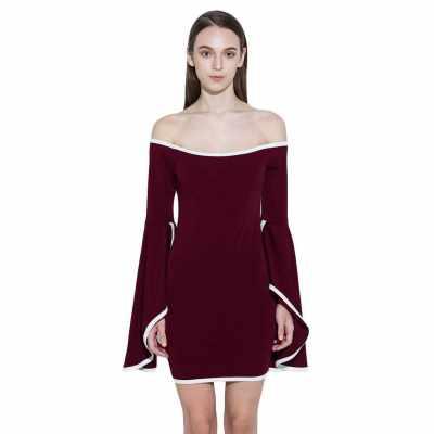 Fashion Women Off Shoulder Mini Dress Flare Sleeve Bodycon Bandage Party Dress White/Black/Burgundy (Burgundy)