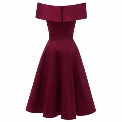 Elegant Women Off Shoulder Dress V Neck Short Sleeve Solid Pleated Cocktail Party A-line Swing Dress Burgundy/Dark Blue (Bul)