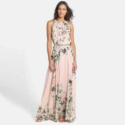 Sexy Women Chiffon Dress Floral Print Crew Neck Sleeveless Party Beach Boho Long Maxi Dress Sundress Pink (Pink)